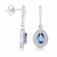 Genuine Tanzanite and White Topaz Pear Drop Earrings