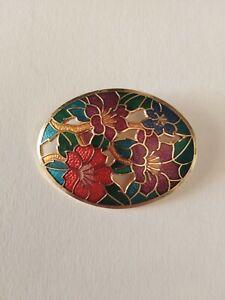 Cloisonne enamel oval floral brooch