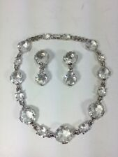 Swarovski Necklace And Earring Set Signed Large Clear Cut Crystal