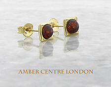 Italian Made 9ct Gold Baltic Amber Small Square Stud Earrings RRP£95!!!  GS0035
