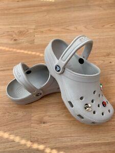 Women's Crocs Classic Clogs Beige Stone with 6 Jibbitz UK 4 US Size W6 M4 / 99p