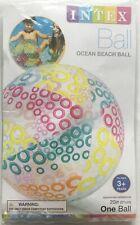 "INTEX 20"" Inflatable Ocean Beach Ball - Orange, Yellow, Teal & Maroon Circles"