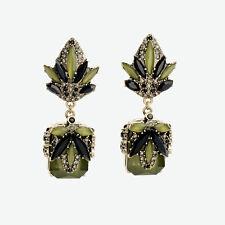 Boucles d'Oreilles Clips Pendant Doré Fleur Art Deco Vert Foncé Carré Vintage J2
