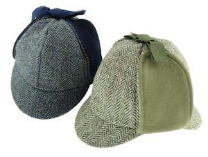 Gents Harris Tweed Charcoal Herringbone Deerstalker With Moleskin Hat Made In UK