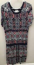 Dept. 222 Large Geometric print T Shirt Dress with pockets - EUC