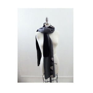 recycled cashmere scarf in Black Gray Pink Argyle shawl Stole wrap   s123