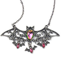 Halloween Bat Gothic Occult Vampire Nu Goth Punk Glass Stone Pendant Necklace