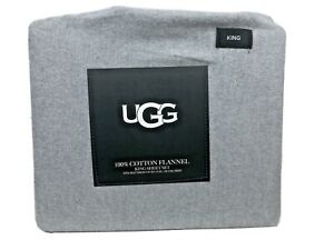"UGG 100% Cotton Flannel 4 Piece Sheet Set Heather Grey King $120 15""Deep Pocket"