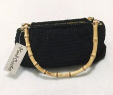 Carlo D' Santi Black Hand Crochet Bamboo Handle Purse NWT