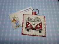 Handmade Vintage VW Camper Van Volkswagon Keyring Birthday Gift Cross Stitch