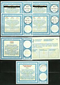 (3633) STAMPS CANADA 7 REPLY COUPONS (4 DIFFERENT) CANADA, GB, ISREAL