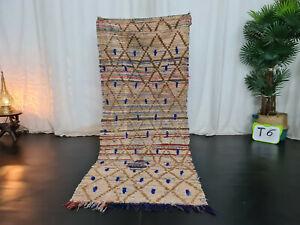 Moroccan Handmade Vintage Tribal Rug 2'6x6'2 Berber Geometric Beige Wool Rug
