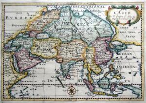 ASIA  L'ASIE   BY NICOLAS SANSON c1682 GENUINE ANTIQUE COPPER ENGRAVED MAP