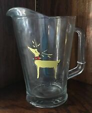 Pottery Barn reindeer RUDOLPH glass pitcher water juice beverage LARGE