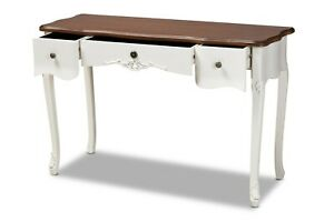 Baxton Studio Sophie Classic Traditional French Country White and Brown Finished