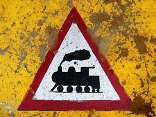 """TIN SIGN """"Train Warning"""" Railroad Deco  Garage Wall Decor"""