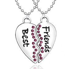 New BEST FRIEND Heart Pink Rhinestone 2 Pendants Necklace BFF Friendship