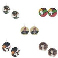 Vintage Wooden African Map Tribe Women Dangle Hook Earrings Jewelry