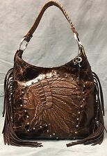 Raviani Indian Head Distressed Brown Hobo Bag W/ Fringe & Silver studs #1426