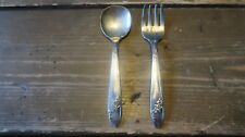 Vintage Tudor Silverplate Baby Kids Spoon Fork Set 4 7/8 inches