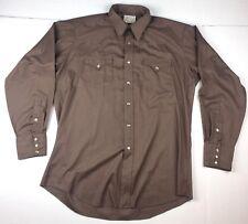 Vintage H Bar C Brown Men's Western Pearl Snap Long Tail