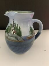 Sheepscot River Pottery Maine Coastal Collection Pitcher Painted Lighthouse Mint