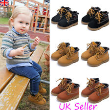 UK Kids Toddler Boys Girls Chelsea Ankle Boots Infant Faux Leather Lace Up Shoes