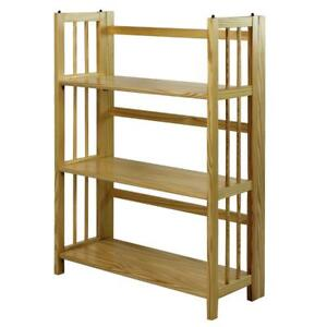 Open Bookcase Storage Folding Stacking Sturdy Solid Wood Home Decor Natural