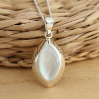 925 Sterling Silver Mother Of Pearl Large Pendant Necklace Gift Boxed