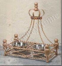 Luxury Iron GOLD CROWN Dog / Pet FEEDER Dish Bowl Jeweled Antique Victorian Cat