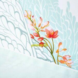 Yves Delorme QN Duvet Cover Source Tropical Floral Aqua Reversible Cotton Sateen