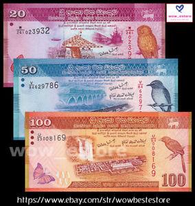 Sri Lanka Set 3 Pcs 20 50 100 Rupees UNC