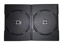 50 X DOPPIO DVD CASE casi da 14 mm DORSO Storage NERO Copertina manica 2 vie