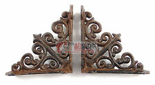 2 Small Shelf Brackets Fleur De Lis Cast Iron Brace Antique Style Scrolls 4 x 4