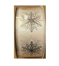 Kirkland Wire Edged Ribbon Silver Trimmed Snowflake 50 Yards 2.5 inches