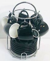 Crate & Barrel Set of 6  2 ounce Black Espresso Cups and Saucers with Stand