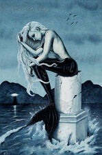Mermaid Art ORIGINAL PAINTING Gothic Fantasy Stormy Sea Ocean lighthouse dark