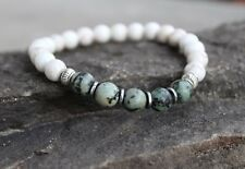 Men's African Turquoise and White Magnesite Beaded Stretch Bracelet Wristband