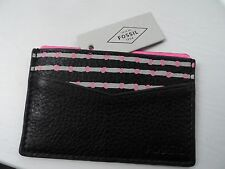 FOSSIL Black Pink Leather Bank Card Case Wallet New tags Unisex