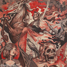Alexander Henry HEART OF DARKNESS Scary Horror Haunted Halloween Fabric - Red
