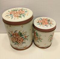 Lot of 2 Decorative Tins Floral Creme Rose