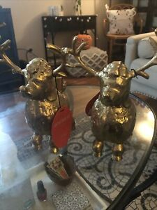 Two Opalhouse Christmas Candle Holder Whimsical Poodle Reindeer.  New With Tags.
