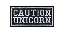 Caution Unicorn Patch Biker Heavy Rocker Aufnäher Kutte Rainbow Colors Dreams