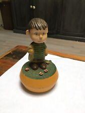Anri Peanuts Music Box Linus standing in mushroom patch 1972 Wood Carving