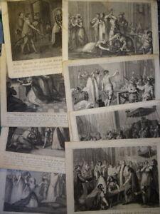 RIGAUD (1742-1810) SUITE 8 GRAVURES MARIE STUART REINE ECOSSE ANGLETERRE 1800