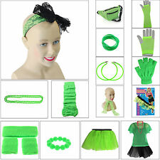 NEON GREEN 1980s FANCY DRESS LEG WARMERS TUTU TOP NECKLACE EARRING 80s HEN PARTY