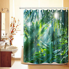 "Sunlight Tropical Forest Plants Banana Leaves 60x72"" Fabric Shower Curtain Set"