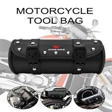 PU Leather Black Motorcycle Front Fork Saddle Bag Handlebar Luggage Tool Bag