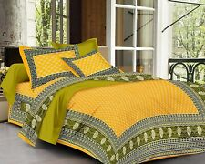 Indian Hand Block Cotton Jaipuri Double Bed Sheet With 2 Pillow Covers,King Size