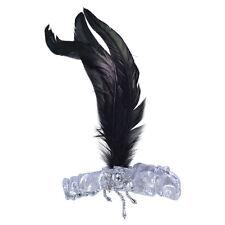 Mujer Años 20 & 1930s plata # diadema Plumas Negras Accesorio de Disfraz Traje